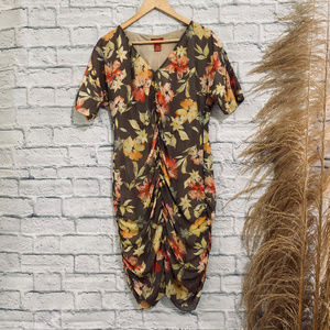 ❤️ 6 Sundance Gray Yellow Red Floral Ruched Dress